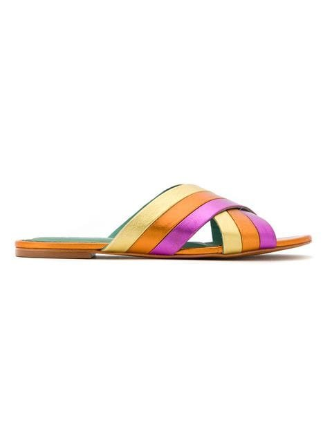 Blue Bird Shoes Metallic Leather Rainbow Flats - Farfetch