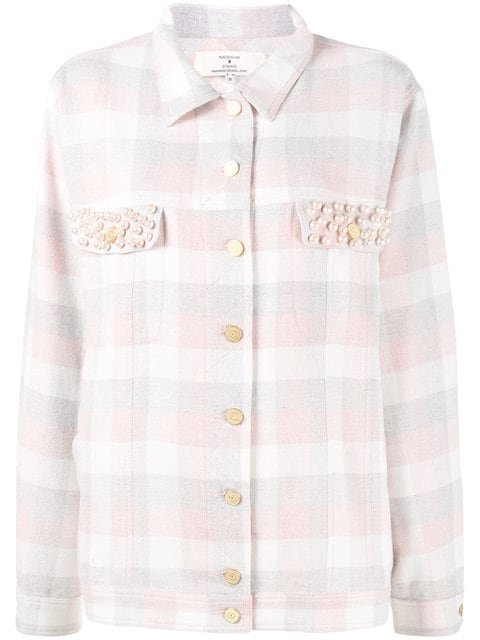 Natasha Zinko Pearl Embellished Check Shirt  - Farfetch