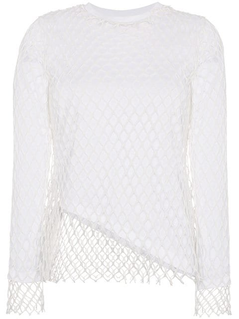 Marques\'almeida White Net Loose Fit Crew Neck Top  - Farfetch