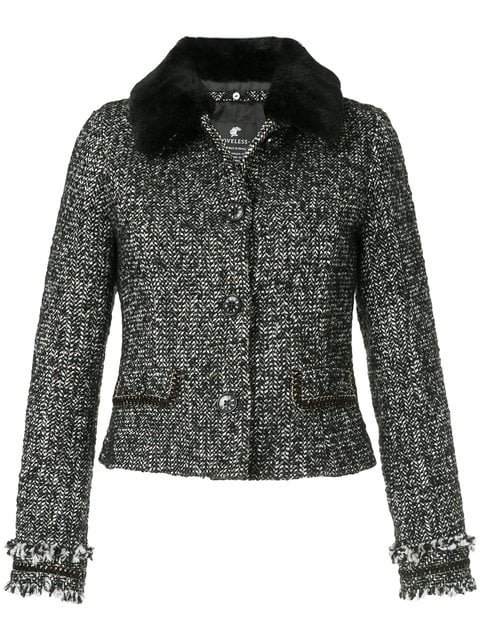 Loveless Contrast Collar Tweed Jacket  - Farfetch
