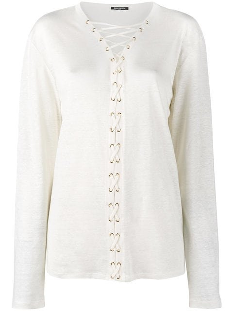 Balmain Lace-up Long Sleeve Top - Farfetch