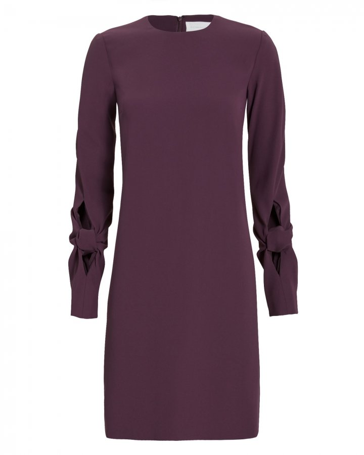 Knotted Sleeve Crepe Dress