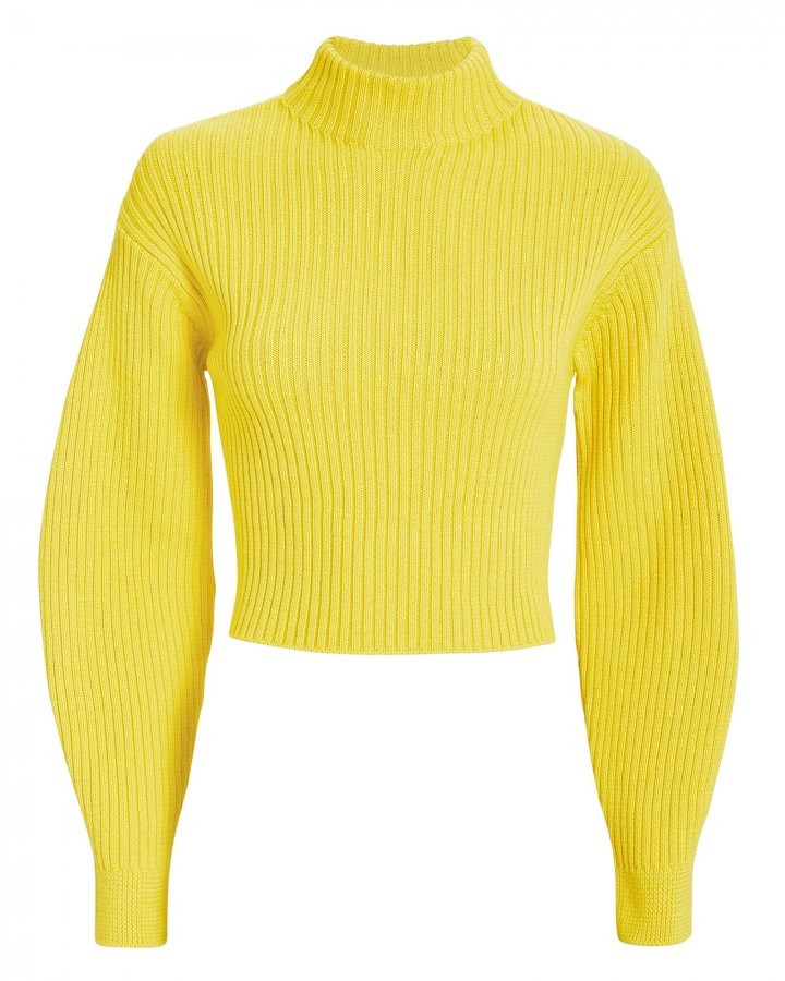 Structured Yellow Ribbed Pullover