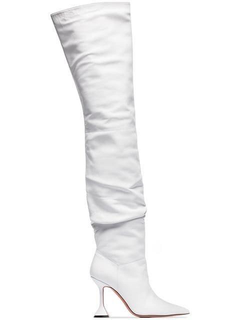 Amina Muaddi Olivia 95 Leather Over The Knee Boots - Farfetch