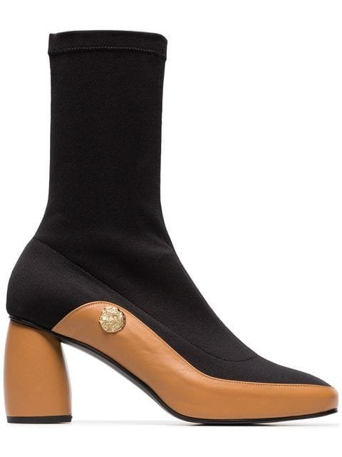 Reike Nen Black And Brown Curved 90 Leather Sock Boots - Farfetch