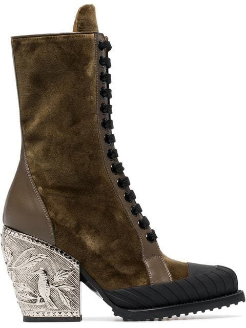 Chloé Brown Rylee 90 Baroque Velvet Lace Up Boots - Farfetch