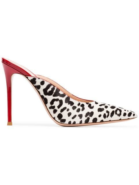Gianvito Rossi Red, Black And White Leopard Print 105 Ponyhair Pumps - Farfetch