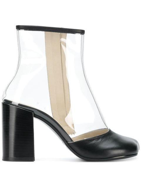 Mm6 Maison Margiela Transparent Panel Ankle Boots - Farfetch