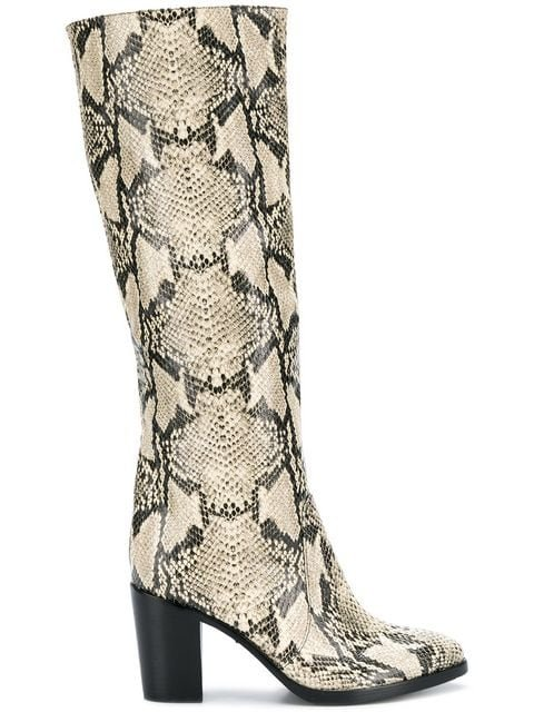 Schutz Snakeskin Design Boots - Farfetch