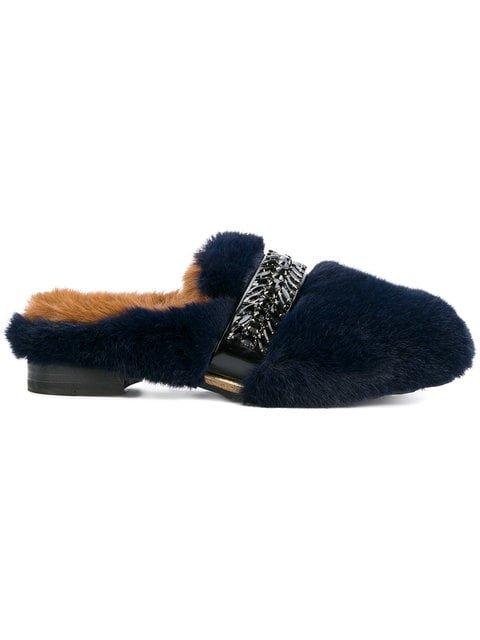 Suecomma Bonnie Rhinestones Faux Fur Mules - Farfetch