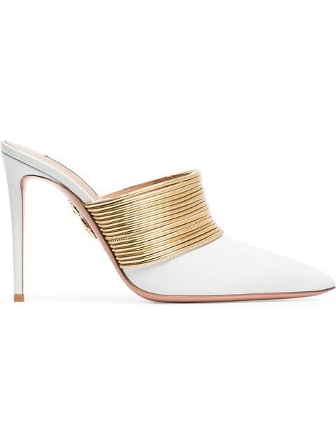 Aquazzura White And Gold Rendezvous 105 Leather High-Heeled Mules - Farfetch