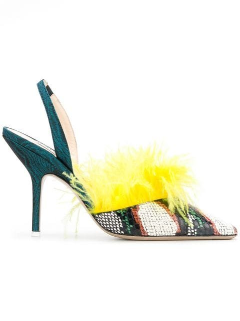 Attico Whips Feathered Pumps  - Farfetch