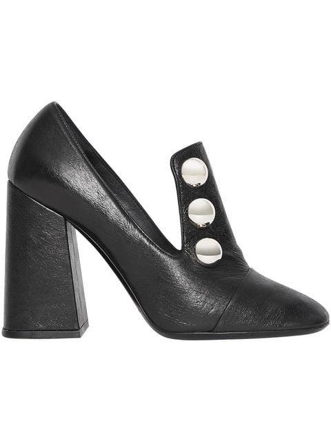 Burberry Stud Detail Leather Block-heel Pumps - Farfetch