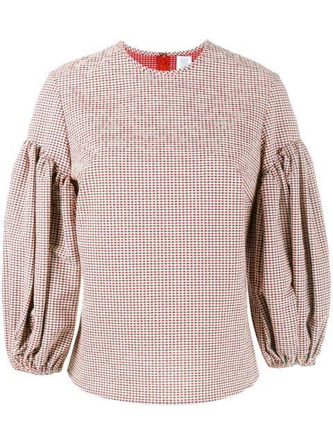 Rosie Assoulin Gingham Puff Sleeve Top - Farfetch