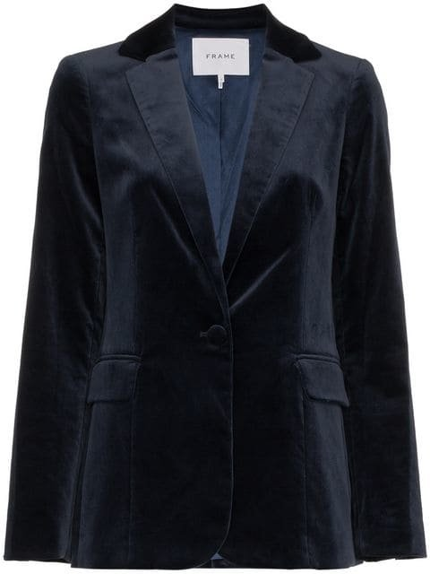 Frame Denim Velvet Single Breasted Blazer  - Farfetch