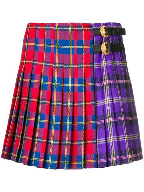 Versace Two-tone Tartan Skirt - Farfetch