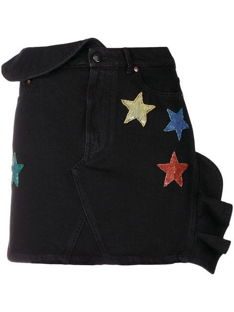 Valentino Sequinned Star Denim Mini Skirt - Farfetch