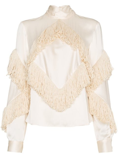 Christopher Kane Fringed High Neck Long Sleeve Top - Farfetch
