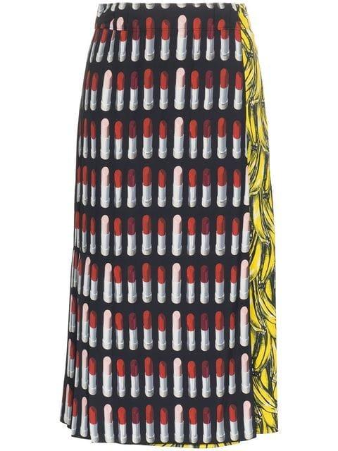 Prada Lipstick And Banana Print Midi-Skirt - Farfetch