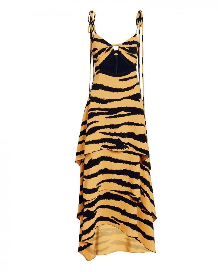 Tiered Tiger Print Cutout Dress