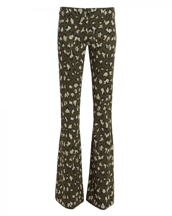 Leopard Jacquard Flare Pants