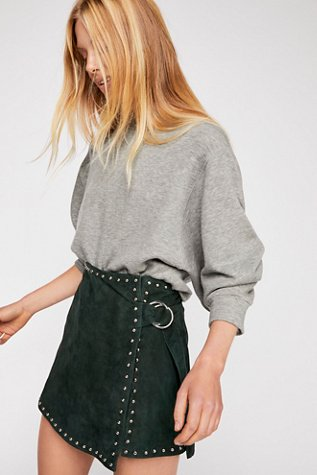 Emerald Studded Suede Mini Skirt
