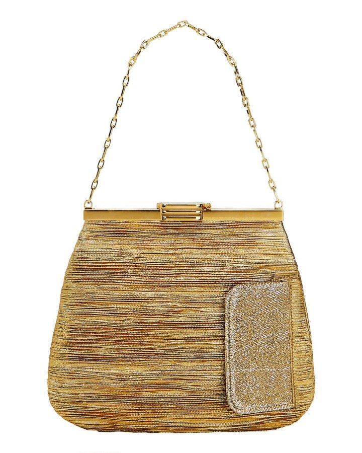 4AM Lurex Gold Chain Clutch Bag