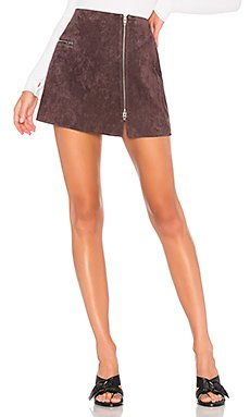 Asymmetrical Zip Suede Mini Skirt                                             BLANKNYC