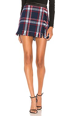 Fringed Mini Skirt In Navy Plaid                                             J.O.A.