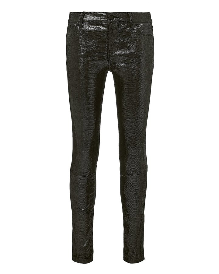 Metallic Skinny Leather Pants