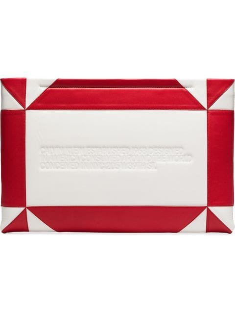 Calvin Klein 205W39nyc White And Red Logo Embossed Geometric Leather Clutch - Farfetch
