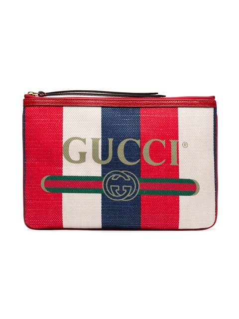 Gucci Blue And Red Logo Print Canvas Clutch Bag - Farfetch