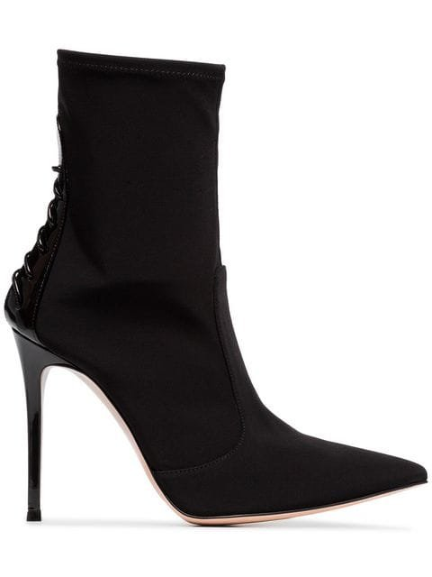 Gianvito Rossi Black 105 Lace Up Leather And Neoprene Boots - Farfetch