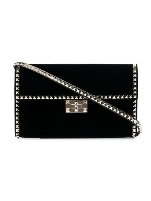 Valentino Valentino Garavani Black Rockstud No Limit Studded Velvet Clutch - Farfetch