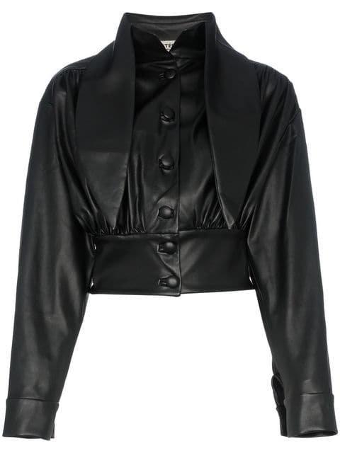 Matériel Faux Leather Tie Neck Blouse - Farfetch