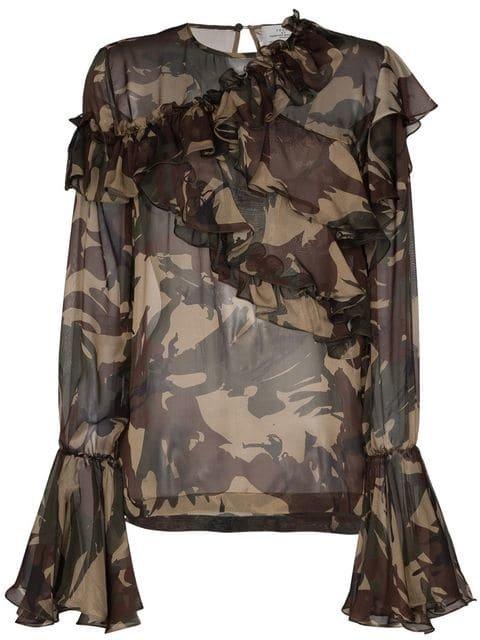 Preen By Thornton Bregazzi Bella Camouflage Print Silk Ruffle Blouse - Farfetch