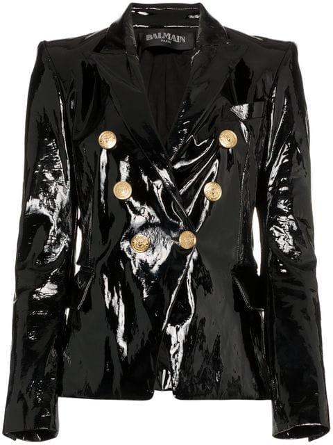 Balmain Double-breasted Leather Blazer - Farfetch