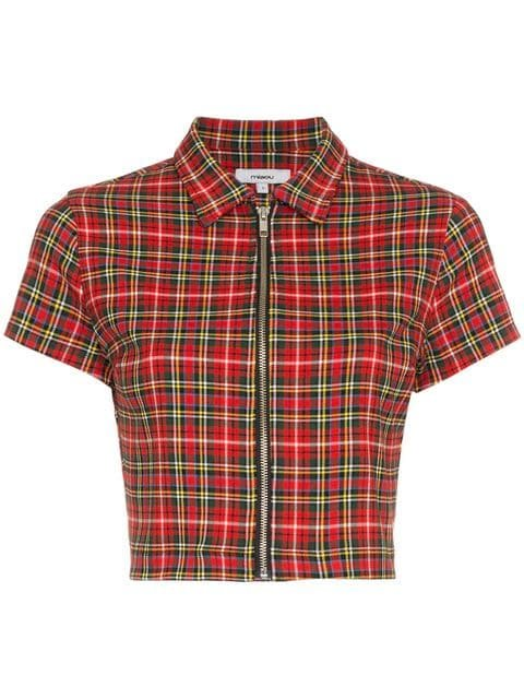 Miaou Raquel Collared Short-Sleeved Tartan Crop Top - Farfetch