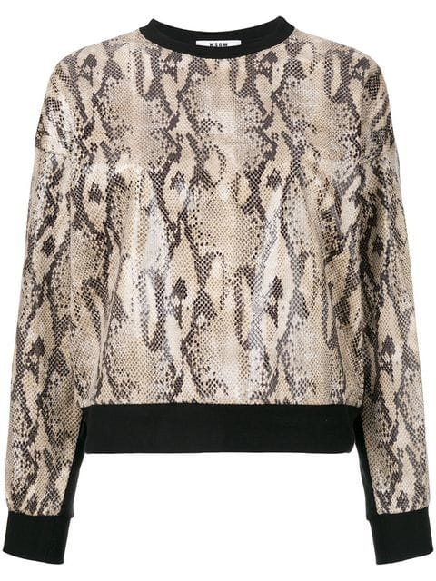 MSGM Snakeskin Print Sweatshirt - Farfetch