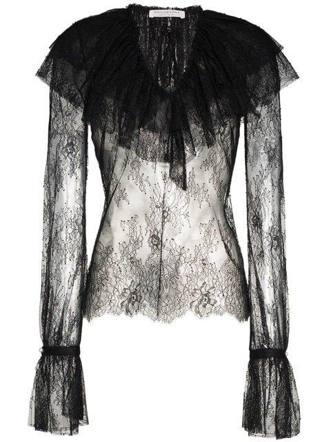Philosophy Di Lorenzo Serafini Lace Long Sleeve Blouse  - Farfetch