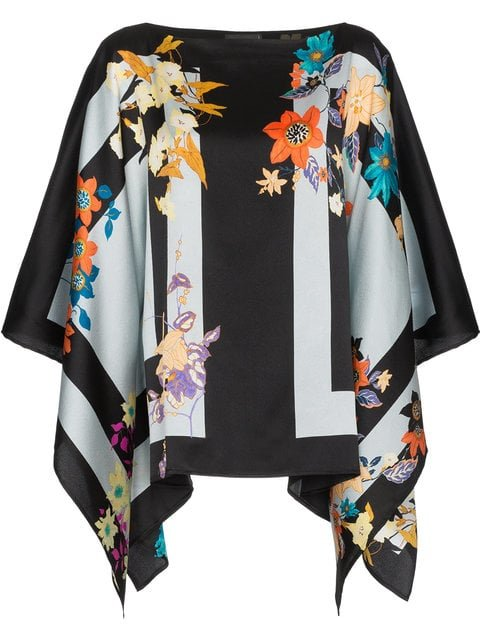 Etro Floral Stripe Print Silk Blend Poncho Top - Farfetch