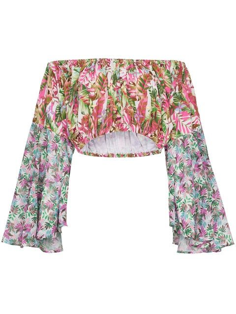 All Things Mochi Lenny Floral Print Cropped Cotton Blouse - Farfetch