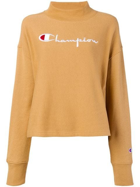Champion Embroidered Mock Neck Sweatshirt - Farfetch