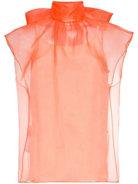 Prada Bow-detail Organza Top - Farfetch