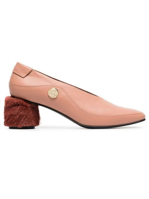 Reike Nen Pink Curved 60 Leather And Faux Fur Pumps - Farfetch