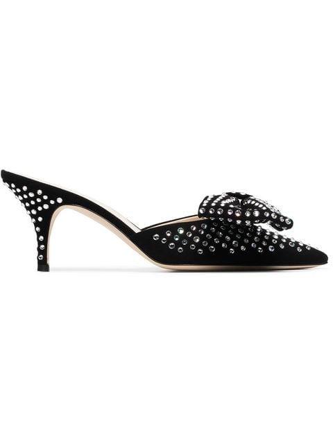 Magda Butrym Black China Crystal Embellished Suede Mules - Farfetch