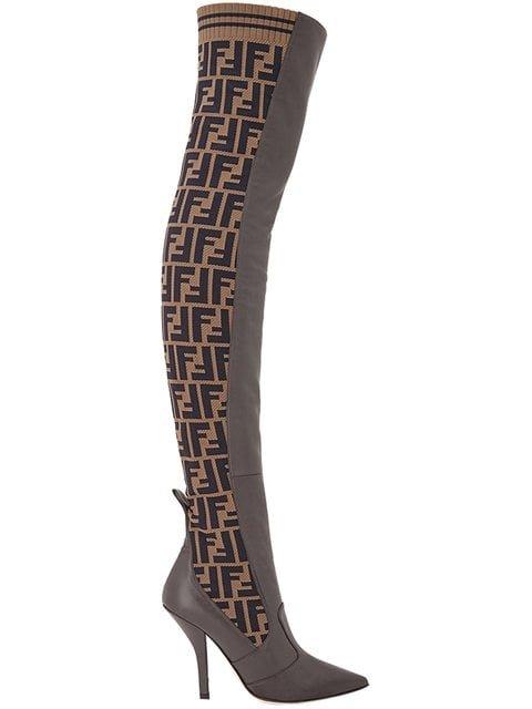 Fendi FF Motif Thigh-high Boots - Farfetch