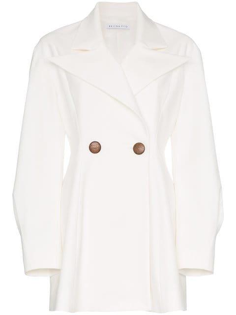 Rejina Pyo Double Breasted Cotton Blend Long Sleeve Blazer - Farfetch