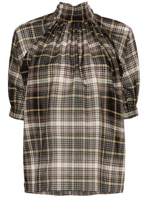 Beaufille High Neck Check Print Cotton Silk Blend Blouse - Farfetch