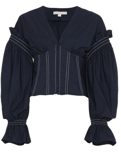 Jonathan Simkhai Corset Full Sleeve Cotton Blouse - Farfetch